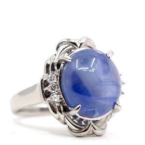 13.48 Carat Star Sapphire Platinum Diamond Ring